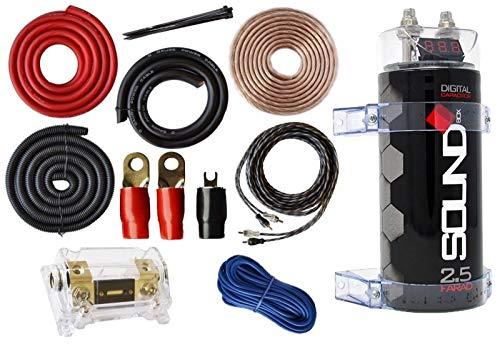 SoundBox 0 Gauge Amp Kit Amplifier Install Wiring & 2.5 Farad Digital Capacitor, 5500W