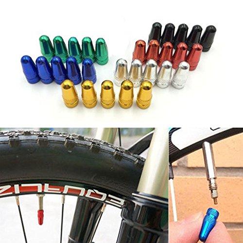 5 x Fahrrad Ventilkappen Reifenventil Staubschutzkappen Presta Rad Gold - 6