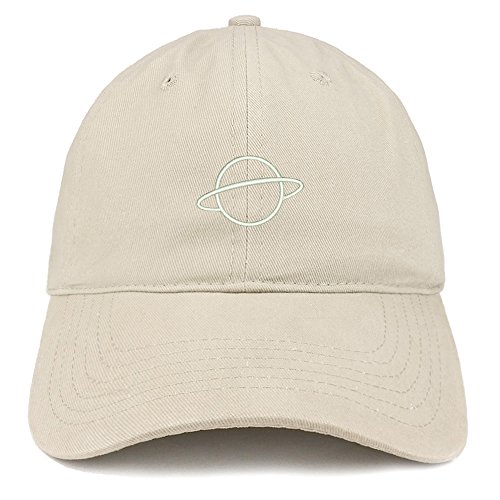 Trendy Apparel Shop Planet Embroidered Soft Cotton Adjustable Cap Dad Hat - Stone