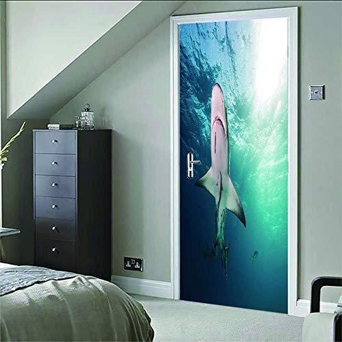 geen merk 3D Deur Mural Onderwater Walvis Deur Stickers Voor Woonkamer Slaapkamer Pvc Lijm Behang Home Decor Waterdichte Mural Decal.77X200Cm