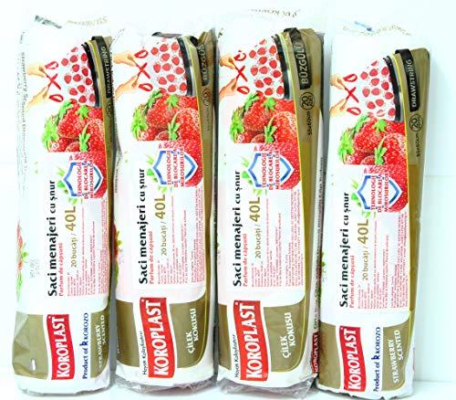 KOROPLAST 80 Erdbeere Duft Müllbeutel mit Zugband, 40 Liter, 4 Rollen mit 20 Beuteln/Müllsäcke/Mülltüten/Erdbeere duftend/Superstarker Erdbeerduft Geruchshemmende Technologie