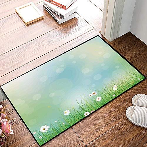 Mingdao Rutschfester Badvorleger, Aquarell Blume, Fee Frühling blüht Muster mit Digital gemacht platzt Eierstock, grün blau,Mikrofaser Duschvorleger Teppich für Badezimmer Küche Wohnzimmer 40x60 cm