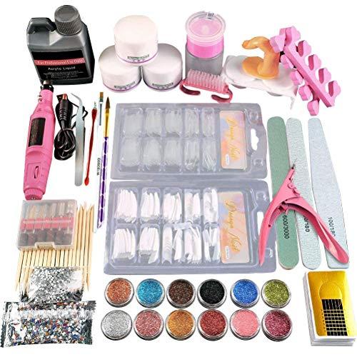 Oulian Acryl Nagelset Nail Art Set, False Nails Kit mit Acrylpulver und Flüssigkeit für Maniküre-Nagelfeilen, Tragbare Nagelbohrmaschine für DIY Nail Art, Acryl Nagelset Komplett für Anfänger