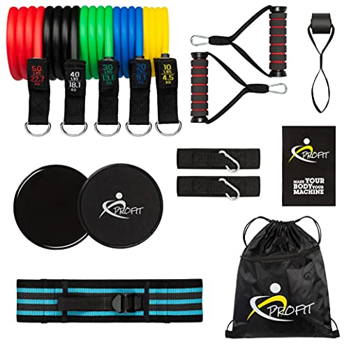 AIH Profit Set per Attività Fisica - Sport e Attività Fisica in Casa - Elastici Fitness - Fascia Elastica Bodybuilding Pilates Regolabile - Core Slider – Borsa di Trasporto 14 PCS.