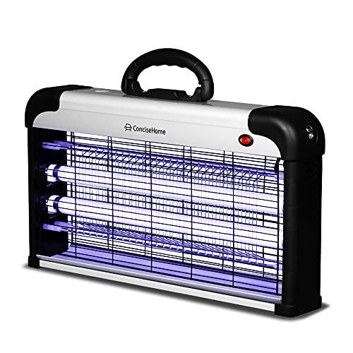 Concise Home XHY-30EU-2 Anti Moustique Lampe UV Tue Mouches,Anti Insectes Répulsif, Destructeur d  Insectes Non Toxique pour Maison, Bureau, Anti Moustiques Exterieur, Efficace 70m²,argenté 30W(2X15W)