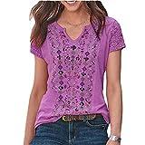 Elesoon Camiseta de verano para mujer, talla grande, bohemio, étnico, tribal, de encaje, hueco, raglán, manga corta, con cuello en V, camiseta, A-morado., 48
