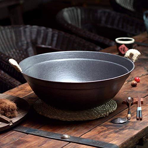 Marmite en fonte avec fond rond - Pour la maison - Épais - Wok en fonte non revêtue - 38 cm - Utilisation domestique - Couleur : 32 cm avec couvercle)