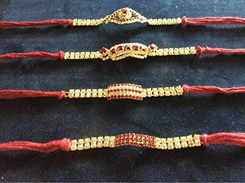 NK GLOBAL Rakhi-Armband für Bruder, Rakhi-Perlen, 8 Stück, inkl. 1 Box Sona Papdi 250 g (indischer süß)