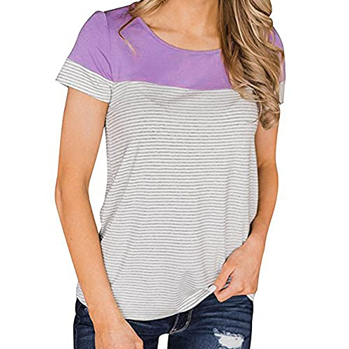 Camiseta Mujer Manga Corta Cuello Redondo Raya Empalme Shirt Mujer Moda Casual Deporte Cómodo Verano Camisa Mujer Trabajo Vacaciones Ropa Diaria Mujer Tops C-Purple XL
