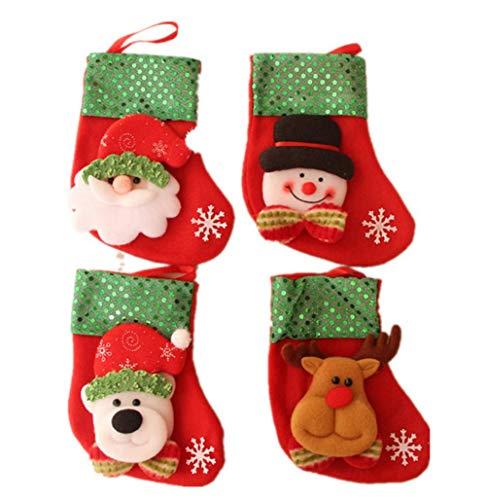 Cosmos 4 Artikel Cartoon (alter Mann + Schneemann + Bär + Hirsch) Muster Weihnachten Socken Kamin Anhänger Weihnachtsgeschenk Tasche Schmuck Tasche Süßigkeiten Tasche Weihnachtsbaum Anhänger