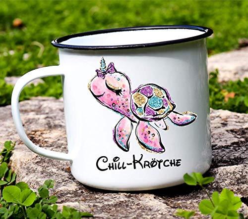 Emaille Tasse Adventure Chillkrötchen | Kaffeetasse Retro aus Metall | Emaille Becher Outdoor Style | lustige Emaille Tasse Kinder Camping