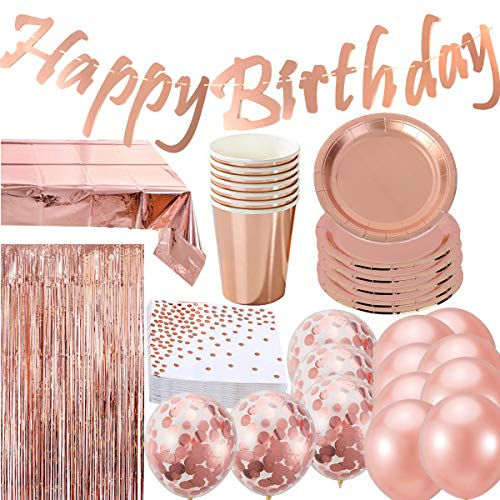Rose Gold Birthday Party Decorations Supplies Tableware for 16 Guests, 16 Cups, 16 Plates, 16 Napkins, Happy Birthday Banner,3.3 X 6.6 ft Photo Booth, Foil Table Cloth,15 Balloons
