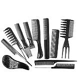 Daimay Professionnel Peigne de coiffure Ensemble Clips De Coiffure Salon de coiffure coiffeur peigne Pack de Variétés de 11 pour tous types de cheveux - Noir