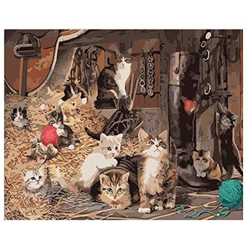 MYYDM Kit de Pintura al óleo de Bricolaje Un Grupo de Gatos Pinta por números para Adultos niños con Pinceles y Pigmento acrílico 16 x 20 Pulgadas (sin Marco)
