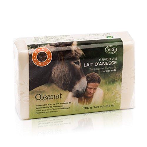 Oléanat - jabón con leche de burra orgánica y sin perfume (100 g)