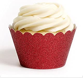 Dress My Cupcake Standard Reusable Glitter Cupcake Wrappers, Set of 50 (Red)