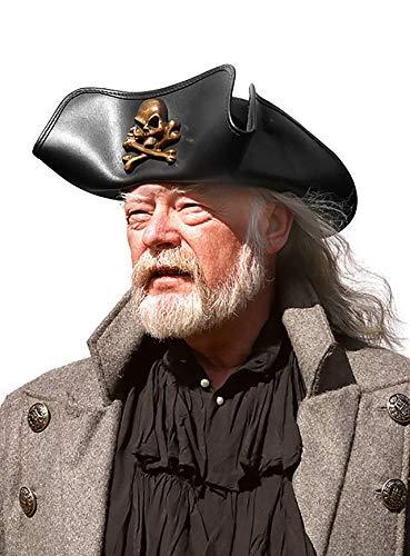 MW Dreispitz aus Leder Seeräuber Pirat Hut mit Totenschädel und Knochen - Größe 58-59