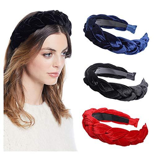 WELROG Gepolsterte Stirnbänder Frauen Dicker Samt 90er Jahre Haarschmuck Kopfband Spanisches Alice-Haarband im Vintage-Stil (Marineblau + Schwarz + Rot)