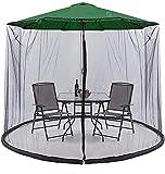 KDOAE Mosquito de Sombrilla de jardín Jardín Parasol Neto Outdoor Garden Umbrella Mosq-Uito Polyester Netting para Acampar en el Jardín al Aire Libre (Color : Black, Tamaño : One Size)