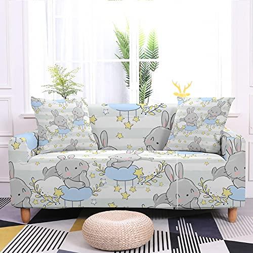 WXQY Funda Protectora de sofá elástica con Estampado de Conejo Lindo Funda Protectora para sillón a Prueba de Polvo Funda de sofá Funda de sofá A5 2 plazas