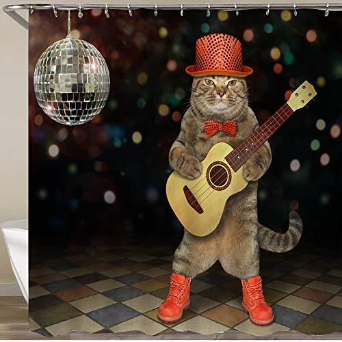 KGSPK Cortinas de Ducha,Gato músico con Botas de Pajarita de Sombrero Rojo Toca la Guitarra acústica en la Discoteca,Impermeable Cortinas Baño y Lavables Cortinas Bañera 180x180CM