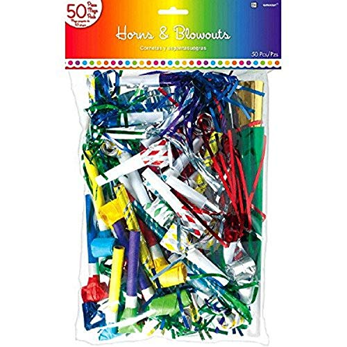 Buy Bargain Amscan 339620 Rainbow MVP Horns and Blowouts Party Blow Outs, 15 x 9 3/8, Multicolor