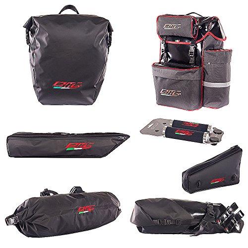 BMG Fahrrad Reiseset - 2 Rahmentaschen Grosse Satteltasche und Lenkertasche Fahrradrücksack Gepäckträgertasche Italien