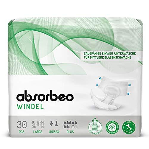 Absorbeo - Windel Plus – Saugfähige Einweg-Unterwäsche für Mittlere Blasenschwäche, Unisex, Größe L (30 Stück pro Packung