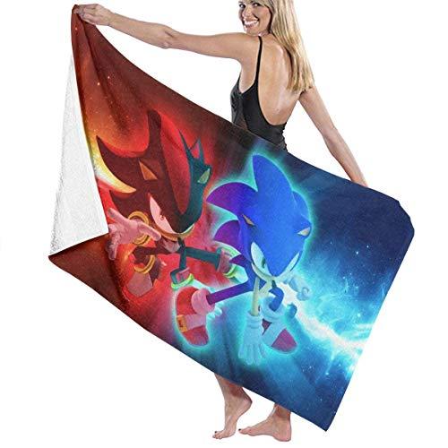 Ewtretr Toalla de Playa Sonic with Shadow Hedgehog Beach Towels Ultra Absorbent Microfiber Bath Towel Picnic Mat for Men Women Kids