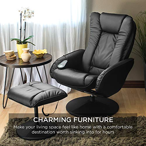 Faux Leather Electric Massage Recliner Chair for Office Comfort w/Stool Footrest Ottoman