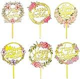 Happy Birthday Cake Topper, 6 Pièces Acrylique Paillettes Toppers, Cupcake Toppers pour Décorer, Gateau Happy Birthday Decoration, Décorer Le Gâteau d'anniversaire (6pcs)