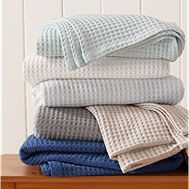 Great Bay Home 100% Cotton Waffle Weave Premium Blanket. Lightweight and Soft, Perfect for Layering. Havana Collection (King, Taupe)