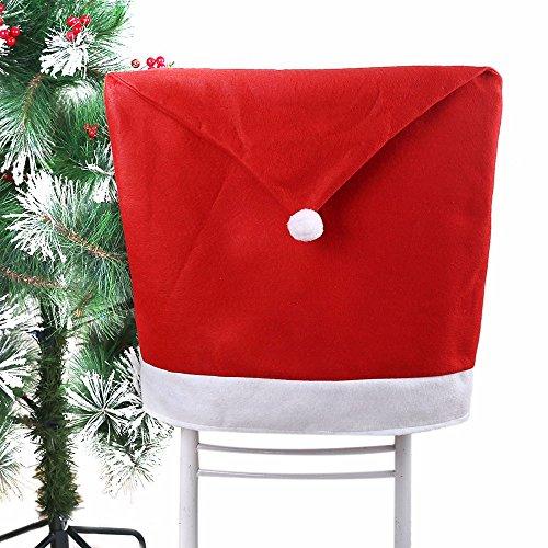 Hukitech Kerstman muts stoel afdekking stoelhoezen stoelovertrek kerstdecoratie - afmetingen 50 x 60 cm