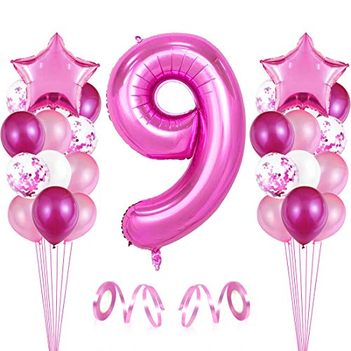 Bluelves Luftballon 9. Geburtstag Rosa, Geburtstagsdeko Mädchenn 9 Jahr, Happy Birthday Folienballon, Deko 9 Geburtstag Junge Mädchen, Riesen Folienballon Zahl 9, Ballon 9 Deko zum Geburtstag