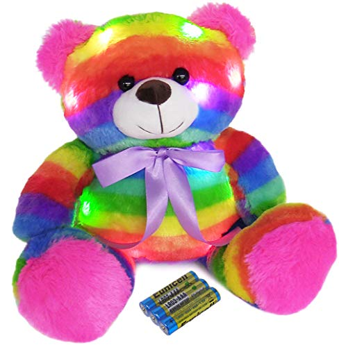 The Noodley Light Up Teddy Bear Glowing Stuffed Animal LED Plush Sleep Toy for Toddlers, Kids, Boys & Girls, Valentines, Easter, Baby, Rainbow 16 inch