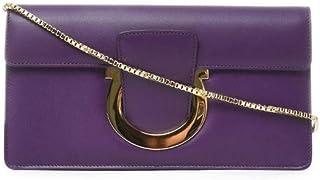 Salvatore Ferragamo Women's 640134 Purple Leather Clutch