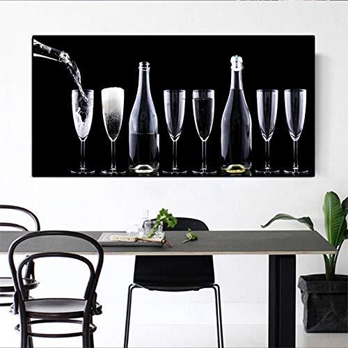 N / A Wandkunst Bild Gemälde von Weinflaschen und Weingläsern im Wohn- und Esszimmer für Inneneinrichtung Gemälde Rahmenlos 24X48 cm
