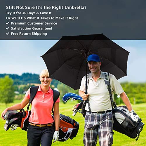 Procella Golf Regenschirm, 157 cm groß, sturmsicher, automatisch zu öffnen, Regen- und Windresistent Golfschirme(Black) - 7