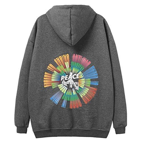 JYQH New Street Hip - Suéter con capucha para Europa y América Plus cachemir tendencia salvaje 3D degradado manga larga gris oscuro XL