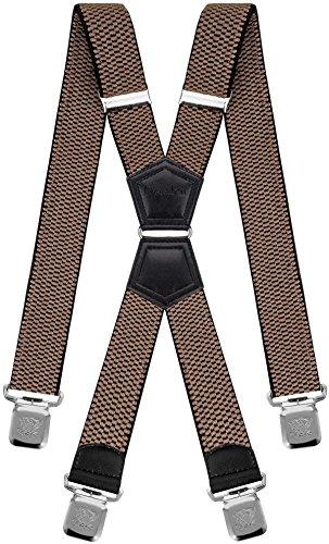 Decalen Hosenträger für Herren Breit 4 cm mit sehr Starken 4 Metall Clip Lang Einheitsgröße für Männer und Damen Einstellbar und Elastisch X Style (Dunkelbeige)