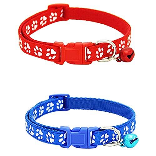 Deesen 2 Collares de Gato Ajustables Cargados con Campanas, Diseeo de Impresión de Garra para Mascotas, Collar de Liberación Rápida Y Segura para El Gato (Rojo Y Azul)