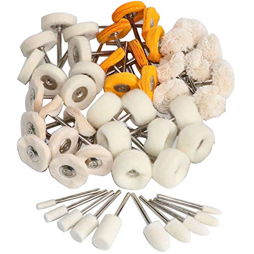 1Inch Polishing Buffing Wheel Set,Wool Felt Cotton Mounted 3mm Shank for Rotary Tool Accessories,Mini Brush Polishing Kit for Watch and Jewelry 50 Pieces
