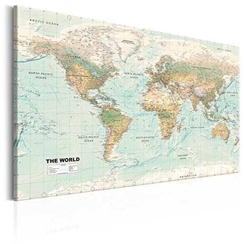 murando Cuadro en Lienzo Mapamundi 120x80 cm 1 Parte Impresión en Material Tejido no Tejido Impresión Artística Imagen Gráfica Decoracion de Pared Mapa k-A-0207-b-d
