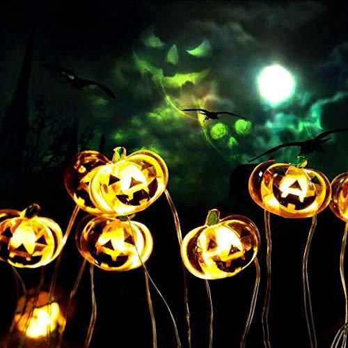 Yansh Kürbis Halloween Lichterkette, 30 LED 8-Mode batteriebetriebene Lichterketten, mit Fernbedienung und Timer, Flexible Kupferdraht Jack O Laternenlichter, für Halloween Party Dekoration - Gelb 3M