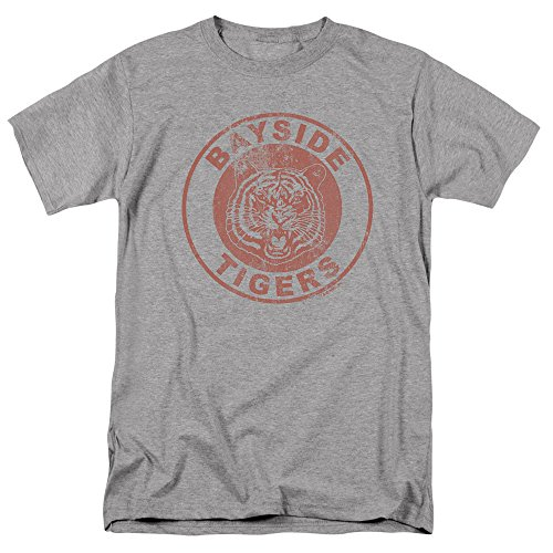 Saved by The Bell Bayside Tigers NBC T Shirt & Stickers, Distressed Logo (Athletic Heather) Medium