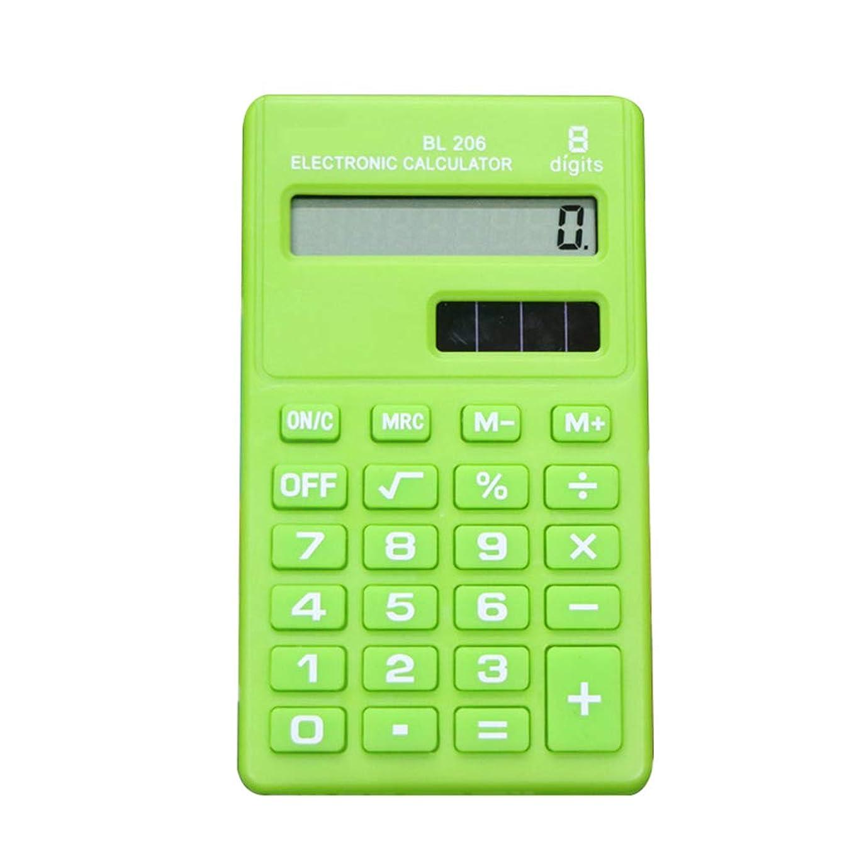 群衆登録する蛾WillowswayW ミニキャンディーカラー 8桁ポケット 電子計算機 学校 学生 オフィス用品 one size グリーン