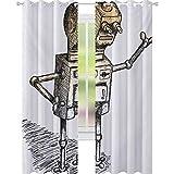YUAZHOQI - Cortinas de fantasía para dormitorio, diseño de robot, diseño de humor, ilustración artística, 52 x 241 cm, elegantes para sala de estar, color negro y gris