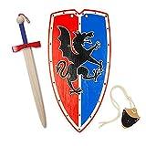 HERALDUM Spada e scudo templario per bambini, cavaliere medievale templare, armi giocattolo.