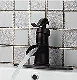 Miscelatore per rubinetto a cascata con lavandino per bagno in olio di bronzo lucidato antico con piastra di copertura a foro fosforoso