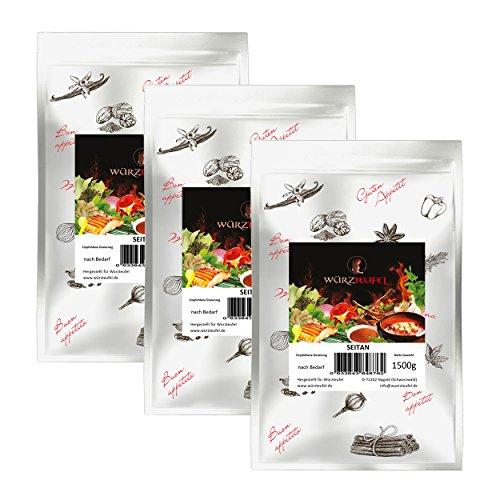 Seitan Weizeneiweiß, Weizengluten. Vegane und vegetarische Küche. 3 Beutel je 1500g. (4,5KG)